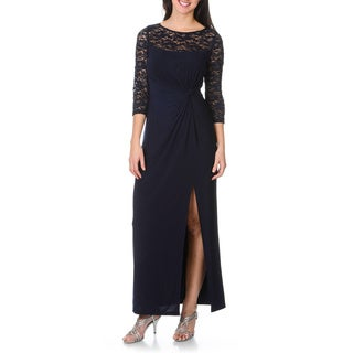 R&M Richards Women's Lace/ Sequin Twist Knot Bodice Gown