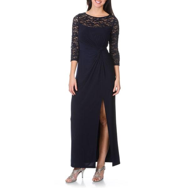 R&M Richards Women's Lace/ Sequin Twist Knot Bodice Gown
