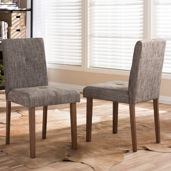 Set of 2 Elsa Wood & Fabric Contemporary Dining Chair