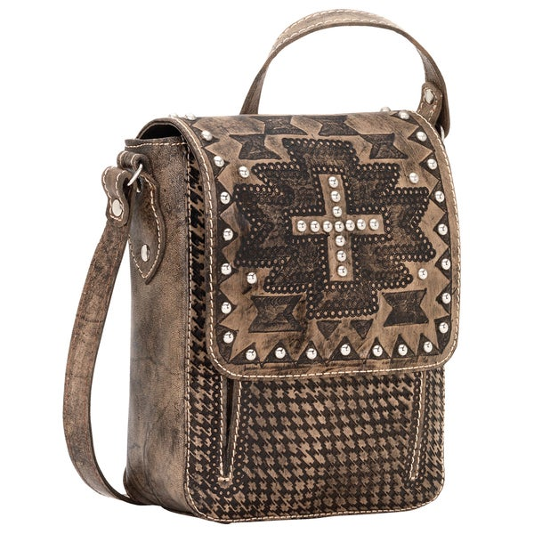 American West Apache Collection Distressed Charcoal Brown Crossbody Bag