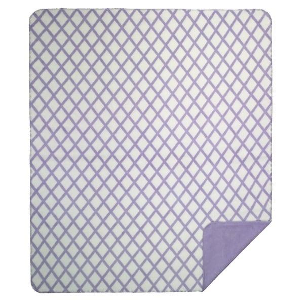 Denali Lattice soft purple Micro-plush Throw Blanket