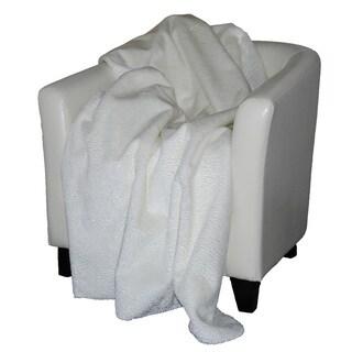 Denali Embossed white Micro-plush Throw Blanket