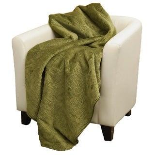Denali Embossed sage Micro-plush Throw Blanket