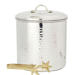 Hammered Stainless Steel 3-quart Ice Bucket with Liner and Tongs