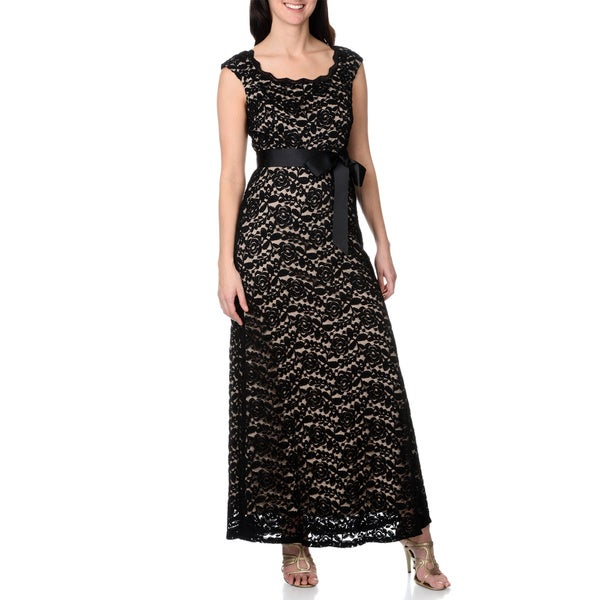 R&M Richards Women's Soft Stretch Ribbon Waist Tie Lace Gown