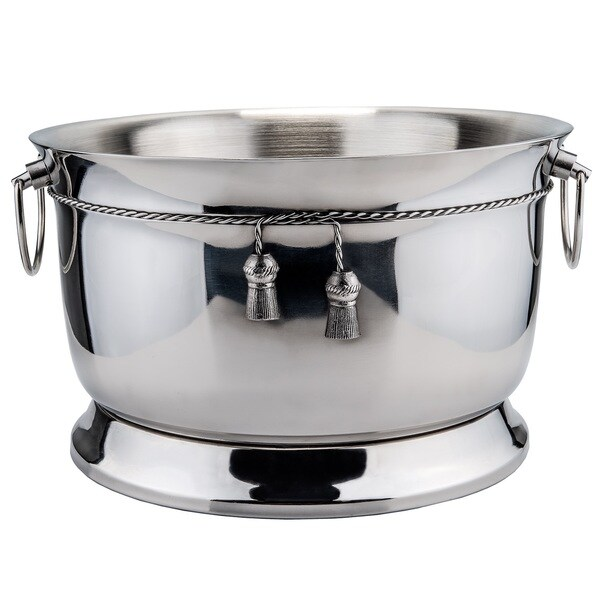 Stainless Steel Double-walled Party Tub with Tie-knot Accent 14986201