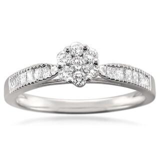 14k White Gold 1/2ct TDW Diamond Flower Cluster Engagement Ring (G-H, SI1)