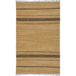 Hand Woven Tan Leather Matador Rug (10'x14')