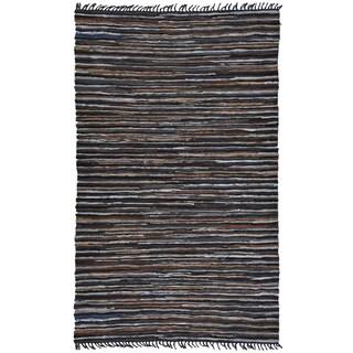 Hand Woven Brown Leather Matador Rug (10'x14')