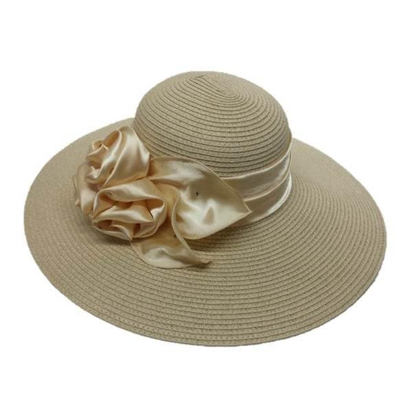 Swan Hat Women's Swan Satin Bow Straw Braided Floppy Hat