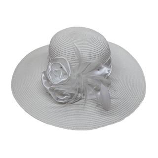 Swan Hat Women's Swan Large Satin Bow White Straw Braided Floppy Hat