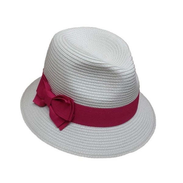 Swan Hat Women's Swan Grosgrain Ribbon Band Straw Braid Fedora