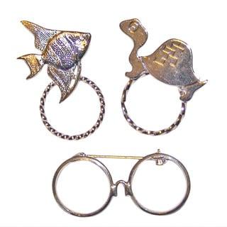 Detti Originals SPEC Fish/ Turtle and Glasses Silvertone 3-piece Spectacle Brooch Set