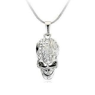 Princess Ice Platinum-plated Gothic Crystal Rhinestone Unisex Skull Pendant