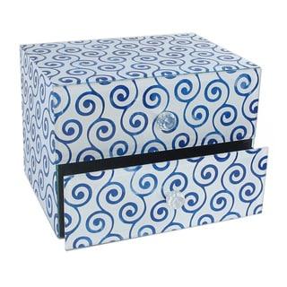 American Atelier Swirl Blue 2-drawer Jewelry Box