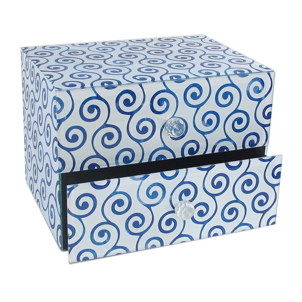 American Atelier Swirl Blue 2-drawer Jewelry Box