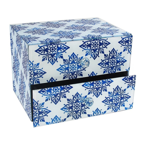 Diamond Medallion Blue 2-drawer Jewelry Box
