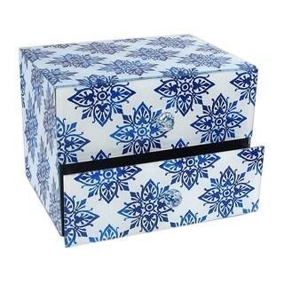 Diamond Medallion Blue 2-drawer Jewelry Box
