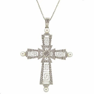 Kabella 18k White Gold 4/5ct TDW Diamond and Pearl Cross Pendant Necklace (G-H, SI1-SI2) (4 mm)
