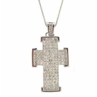 Kabella 18k White Gold 3ct TDW Diamond Cross Necklace (G-H, SI1-SI2)