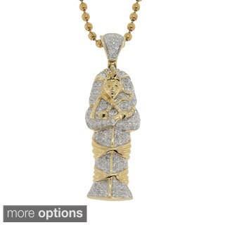10K Gold 0.45ct TDW Diamond Egyptian Mummy Head Pendant (G-H, I2- I3)