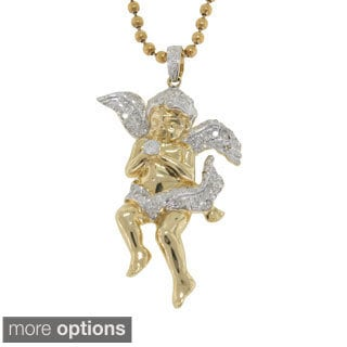 10K Gold 0.44ct TDW Diamond Angel Pendant (G-H, I2- I3)