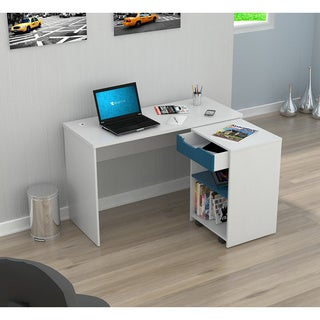 Inval America White/ Blue Desk with Swing-out Storage
