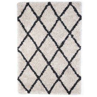 Jani Shag Ivory and Graphite Grey Eco Silky Shag Rug (5' x 8')