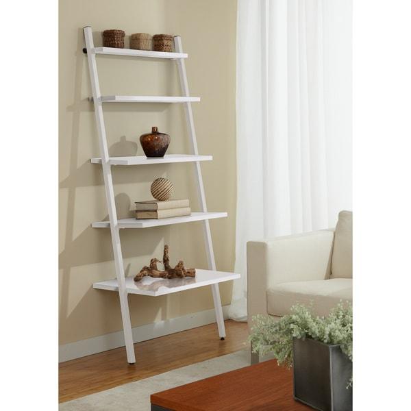 Jesper Office White Leaning Bookcase
