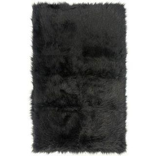 Faux Fur Black Sheepskin Shag Area Rug (5' x 7')