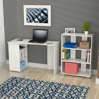 Inval America Laricina White Curved Top Writing Desk and Bookcase