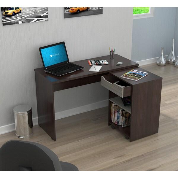 Inval America Espresso Desk With Swing Out Storage