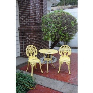 Somette Royal Crown Yellow Cast Aluminum Outdoor 3-Piece Bistro Set