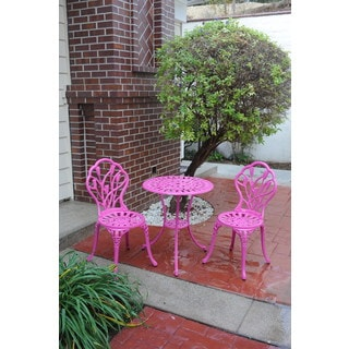 Somette Pink Tulip Cast Aluminum Outdoor 3-piece Bistro Set