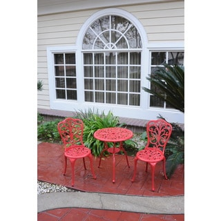 Somette Red Daisy Cast Aluminum Outdoor 3-piece Bistro Set