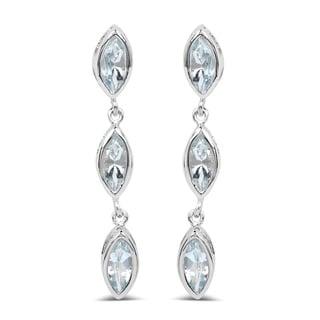 Sterling Silver 1 7/8ct TGW Aquamarine Drop Earrings