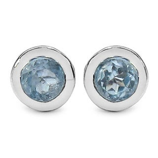 Sterling Silver Blue Topaz Round Stud Earrings