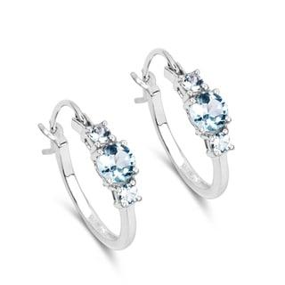 Malaika Sterling Silver Genuine Blue Topaz Earrings