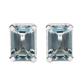 Malaika Sterling Silver Genuine Aquamarine Earrings