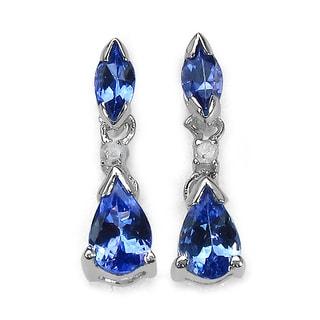 Malaika 14k White Gold Tanzanite Diamond Accent Dangle Earrings