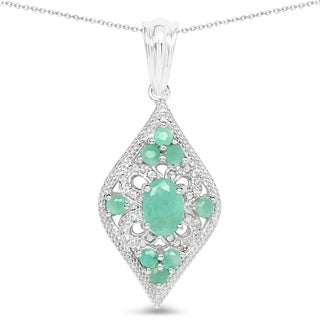 Malaika Sterling Silver Emerald and White Topaz Rounded Teardrop Necklace