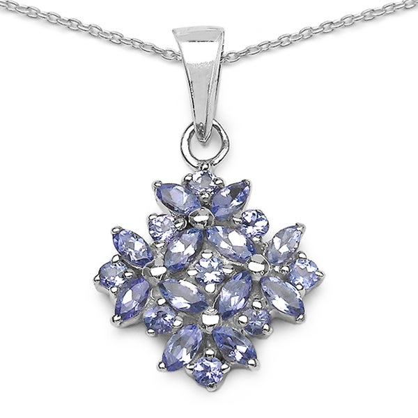 Sterling Silver Marquise-cut Tanzanite Cluster Pendant