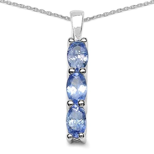 Sterling Silver 3-stone Tanzanite Bar Pendant