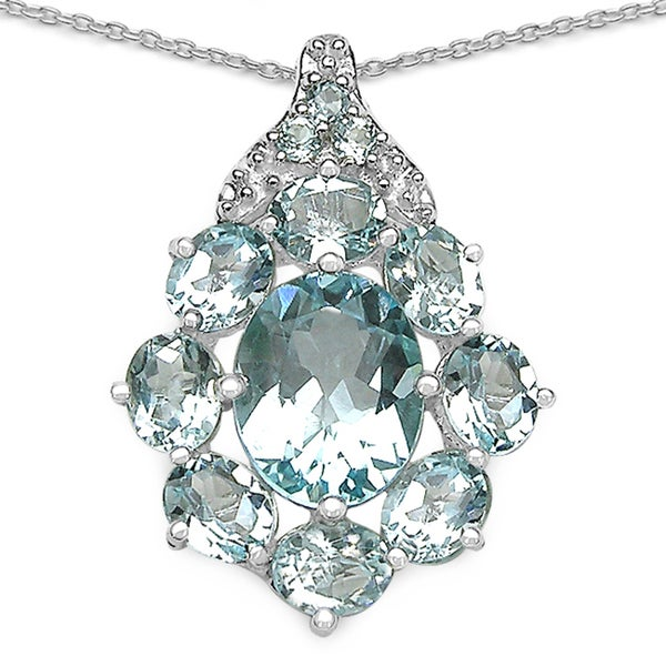 Sterling Silver Oval Blue Topaz Round Necklace