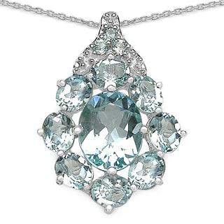 Malaika Sterling Silver Oval Blue Topaz Round Necklace