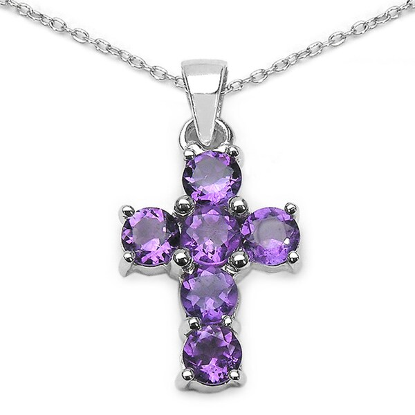 Sterling Silver Round-cut Amethyst Cross Pendant