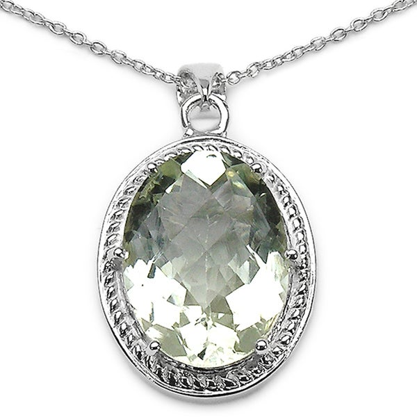Sterling Silver Oval-cut Green Amethyst Pendant