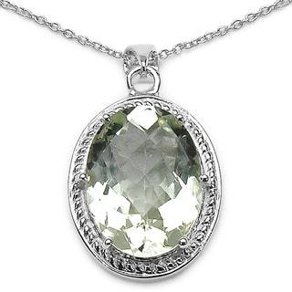 Sterling Silver Oval-cut Green Amethyst Pendant