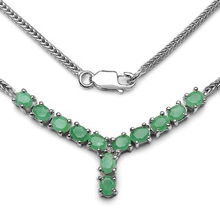 Olivia Leone 1.93 Carat Genuine Emerald and White Diamond .925 Sterling Silver Necklace