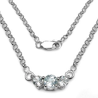 Malaika Sterling Silver 3-stone Aquamarine Cable Chain Necklace